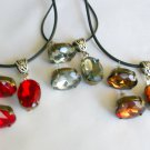 Red Grey Brown Rhinestone Pendant Necklace and Earrings Set
