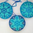 Felt snowflake ornament blue and aqua Frozen lot