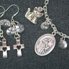 St Francis of Assisi Medal Cat Cross Charm Bracelet Earrings