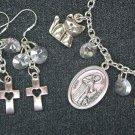 St Francis of Assisi Medal Cat Cross Charm Bracelet Earrings