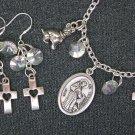 St Francis of Assisi Medal Dog & Cross Charm Bracelet Earrings