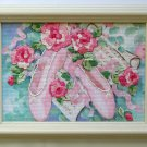 Ballet and Roses Dimensions completed cross stitch ballerina 6623