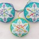 Felt snowflake ornament tie dye light aqua white lot
