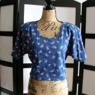 Nuovo retro blue flower paisly cropped kimono short sleeves top medium
