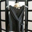 Covington black white polka dot empire cross over sleeveless top small
