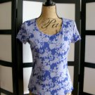 Josephine Chaus Sport purple flower floral short sleeve top small