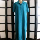 Expressions aqua blue short sleeve column shirt dress size 16