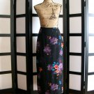 Hillard and Hanson black purple flower floral skirt small