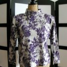 InPulse purple gray flower floral 3/4 sleeve top crop medium