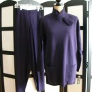 Karen Lessly purple knit long sleeve top and pants 2 piece set small