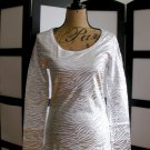 No Boundaries silver white tiger shimmer long sleeve top medium