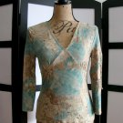 No Boundaries Stretch blue brown empire open sleeve top small