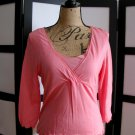 Liz Claiborne peach empire lettuce hem 3/4 sleeve top small