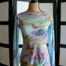 Rave blue butterfly iris flower open angel sleeve top large