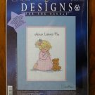 Designs for Needle Jesus Loves Me girl teddy bear counted cross stitch kit 5551