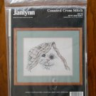 Janlynn Kitty and Quilt White Cat Counted Cross Stitch Kit # 80-78
