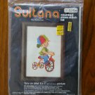 Sultana Boy on Bike vintage counted cross stitch kit 3215