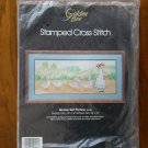 Golden Bee Goose Girl Picture stamped cross stitch kit # 20248