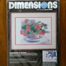 Dimensions Geraniums in Bloom flower no count cross stitch kit # 3906