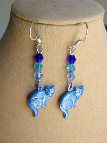 Ombre Cat Charm and Flower Blue Crystal Bead Earrings 2 Pair