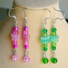 Pink and Green Czech Butterfly Glass Bead Earrings 2 Pair Charm Pendant