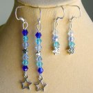 Ombre Star Charm Blue Bicone Crystal Bead Earrings 2 Pair Lot