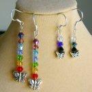 Butterfly Crystal Bicone Bead Rainbow Chakra Earrings 2 Pair Lot
