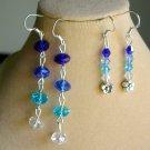 Blue Ombre Crystal Flower Bead Linear Earrings 2 Pair