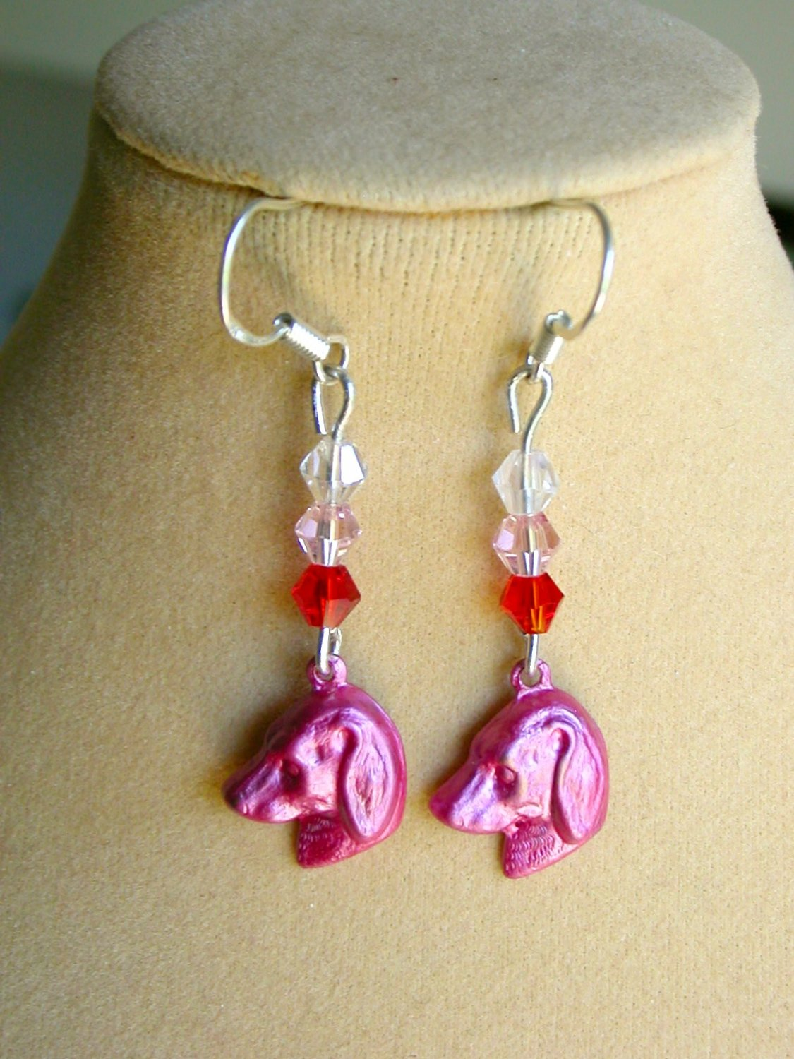 Ombre Dog Charm and Flower Pink Crystal Bead Earrings 2 Pair