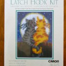 Wonderart Moonlight Meow gray orange cat latch hook rug kit 4104