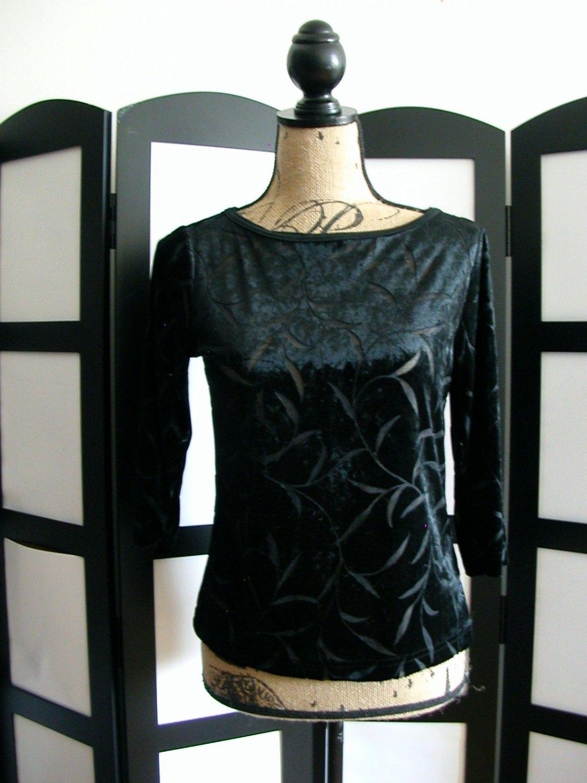 Karen Kane Petites black burned out velour 3/4 sleeve top size petite
