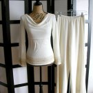 White House Black Market off white gold cowl empire top pant set small XS