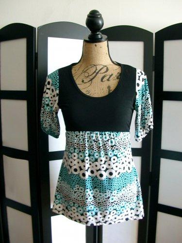 Discreet black aqua white empire waist babydoll short sleeve top medium