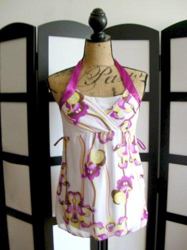 Girl Talk white purple yellow floral empire babydolll sleeveless top small