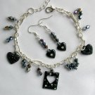 Heart Love Black AB Crystal Bicone Bead Charm Bracelet