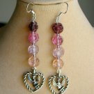 Angel Heart Charm Purple Pink Ombre Glass Flower Bead Earrings