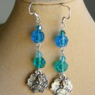 Dragonfly Leaf Charm Aqua Blue Pressed Glass Flower Bead Earrings