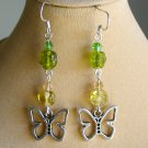 Butterfly Charm Green Yellow Pressed Glass Flower Bead Earrings