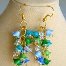 Bell Flower Blue Green Aqua Gold Tone Cluster Earrings