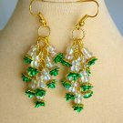 Green Rose Flower Iridescent Clear Bead Dangle Earrings