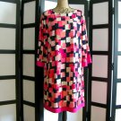 Jessica H pink black geometric block sheath dress 18W