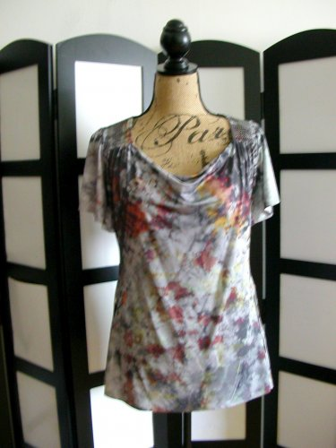 Live and Let Live grey gray cowl neck flutter sleeve tunic top PM