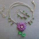 Purple Green Flower Pendant Bicone Crystal Bead Necklace & Earrings