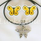 Buttercup Yellow Butterfly Completed Plastic Canvas Earrings