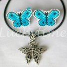 Aqua Blue Butterfly Competed Plastic Canvas Earrings