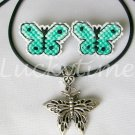 Green Mint Butterfly Completed Plastic Canvas Earrings