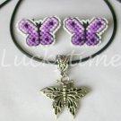 Purple Violet Butterfly Plastic Canvas Earrings