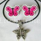 Pink Fuchsia Butterfly Plastic Canvas Earrings