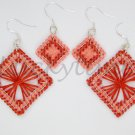 Peach Completed Plastic Canvas String Art Earrings