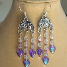 Purple Heart Clear Crystal Bead Chandelier Earrings